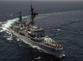 Naval ship on high seas